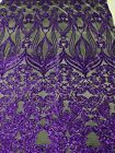 Purple Sequins Black Mesh 4Way Stretch Sequin Fabric Lace Prom Gown By The Yard