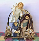 Nativity Set Christmas Fabric Dolls Raffa Hair Wood Twigs Hand Crafted