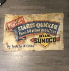 VINTAGE SUNOCO GAS STATION CANVAS BANNER PROVED IN 14 CITIES GAS OIL SODA