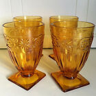 Set Of Four Vintage 60s Amber Glass Goblet Water Wine Footed Square Base Home
