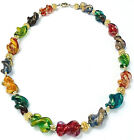 Colorful Murano Sommerso Gold Fleck Venetian Glass Bead Necklace