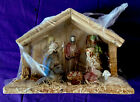 Christmas Nativity Manger Scene Vintage Ceramic and Wood And Hay New
