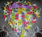 New Hand Crochet Easter Spring Heart Doily Brite Pastels Lilac Ribbon