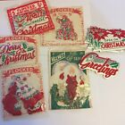 Vintage Flocked Christmas Gummed Seals 5 Styles Some in Package