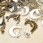 10 Assorted Moon Pendants Antiqued Silver Bronze Celestial Mixed Charms Lot