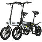 Folding Electric Bike Collapsible Moped Bicycle W Pedals LED Headlight Ebike US