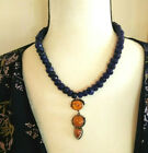 Necklace with Sapphire  Baltic Amber Pendant Natural Gemstones Sterling Sliver