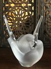 Lalique Frosted  Clear Crystal Sylvie Vase 2 Doves Birds Wings Up W Frog LARGE