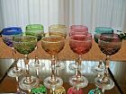 Beyer German Cut to Clear Crystal Wine Glasses Set of 9 in 6 Colors Mint