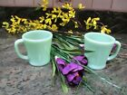 2 Vintage Fire King JADEITE Oven Ware D Handle Coffee Mugs / Cups Set of 2
