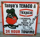 OLD 1963 TANYA'S TOWING TEXACO LAS VEGAS NEVADA PORCELAIN SIGN
