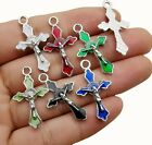 6 Enamel Cross Charms Crucifix Antiqued Silver Religious Pendants Christian Mix