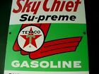 NEAR MINT 1963 Vintage TEXACO SKY CHIEF SUPREME Old Gas Pump Porcelain Sign