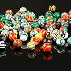 50 Marble Glass Beads 8mm Assorted Lot Mixed Striped Bulk Jewelry Supplies Mix