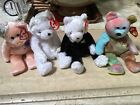 Ty BEANIE BEARS - Bride and Groom - Peace Sign & October New With Tags Lovely