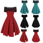 Women Lace Dress Formal Wedding Cocktail Prom Ball Gown Party Pleated Dress US