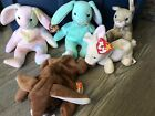LOT Of 5 TY Bunny Beanie Babies W/ Tags- Hippie Hippity Nibbly Nibbler Ears