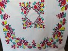 Vintage Print Tablecloth Bold Bright Bunches of Fruit