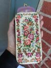 VINTAGE ITALIAN FLORAL PINK ROSES PETIT POINT LEATHER EYE GLASS CASE SWANSONS