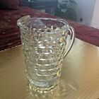 Vintage Colony Whitehall - Clear Block Cube Pressed Glass Pitcher  7 3/4