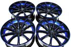 4 New DDR Elite 18x8 5x1143 38mm Black Polished Blue Undercut 18 Wheels Rims