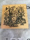 Bunny and Flowers Wood Mounted Rubber Stamp PSX G 1946 Easter Spring Eggs New