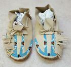 NICE HAND CRAFTED MENS SIZE 10 BEADED LEATHER NATIVE AMERICAN INDIAN MOCCASINS