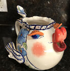 So Cute 2002 Diane Art Stoneware FLOWER FISH PITCHER Blue Flowers Big Lips 65