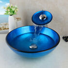 US Bathroom Blue Vessel Sink Tempered Glass Bowl Waterfall Faucet Mixer Tap
