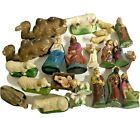 24 Piece Lot of Vintage Chalkware Nativity Figures Christmas Sheep Camels
