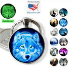 Wolves Luminous Picture Glass Keychain Wolf Key Ring Glow In The Dark Choices