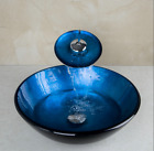US Blue Painting Bathroom Vessel Sink Tempered Glass With Waterfall Mixer Faucet