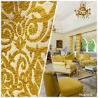 NEW Burnout Swirl Retro Pattern Chenille Fabric Upholstery Mustard Yellow