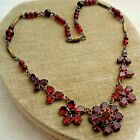 Antique CZECHOSLOVAKIA Signed Garnet Glass Flower Bead Necklace