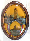 VINTAGE REVERSE PAINTED CONVEX GLASS GESSO FRAME STATUE OF LIBERTY AMERICANA PIC