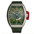 Franck Muller Men's Vanguard Green Leather Strap Automatic Watch 45SCGRNUNLCK