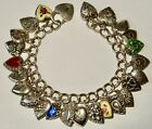VINTAGE STERLING SILVER 24 PUFFY HEART CHARMS ENAMELS ENGRAVING AND HEART LOCK