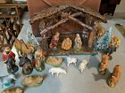 Vintage Nativity Set Manger Scene 17 Figures Made In Italy Stable West Germany +