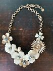 Stella  Dot Bloom Necklace Enameled Flowers Glass Stones Cream Brushed Gold