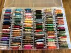 Lot 0f 157 Carded DMC EMBROIDERY FLOSS Skeins Bobbins Thread + Organizer Case