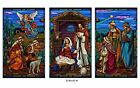 Stained Glass Christmas Polyester Nativity Banner Set 3 Foot W x 5 Foot H