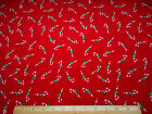 Christmas Fabric By Yard Candy Cane Toss on Crackle Red Cotton 31
