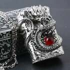 Gorgeous Rare Japanese Handcrafted Master Silver Red Ruby Dragon Jacket Lighter