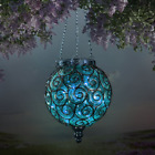 Solar Glass Hanging Lantern Glass Ball 12 Firefly Lights Inside Ball Blue New