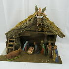 Vintage Sears Nativity Set Made In Italy 9 Figures Real Wood  Moss Stable w BOX