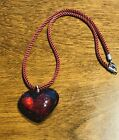 Baccarat Red Glass Heart Pendant Necklace
