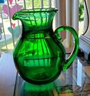 Beautiful Emerald Green Glass hand blown Pitcher Signed Chet Cole