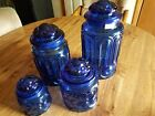 L E Smith Glass Moon and Stars Cobalt Blue Canister Set