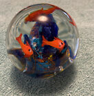 ART GLASS FISH AQUARIUM PAPERWEIGHT WITH 4 FISH AND BLUE SWIRL CORAL REEF