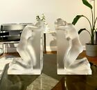 LALIQUE Clear  Frosted Crystal REVERIE Nude Bookends 11850 Signed FRANCE
